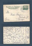 "NICARAGUA. 1911 (28 Enero) Bluefields ""B""  - Germany, Karlstruhe. Via NYC (2 Feb) 5c Green Stationary Card, ""B"" Overprin - Nicaragua"