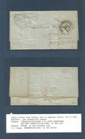 PERU. 1857 (11 Oct) Callao - USA, Castine, Maire. EL Full Text Forwarded Cachet On Front. Crossby & Cº / Callao (a Genui - Peru