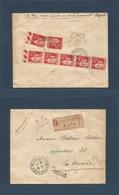 LEBANON. 1933 (4 Nov) French Troops. FM - 600 Beyrouth - Cuba, Havana (24 Nov) Registered Reverse Multifkd Env At 2fr50c - Liban