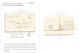 "CHILE. 1868 (31 Dec) Valp - Scotland, Edimburg (12 Feb 1869) EL Full Text. Via Panama Endorsed + ""2sh"" Entry Charge + Fi - Chile"