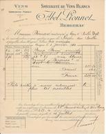 Facture BERGERAC, 24 - Abel Lionnet, Spécialité De Vins Blancs, 1910 - France