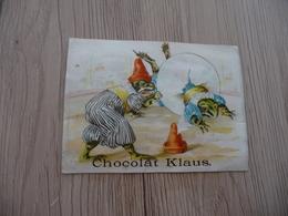 Chromo Ancien Publicitaire  Chocolat Klaus Grenouilles Humanisées Cirque Acrobates Frogs - Other