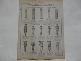 VIEUX PAPIERS - PROSPECTUS : Porte-Bouquets En Cristal (montures En Bronze, Décor Viel Argent Ou Doré) - Publicités