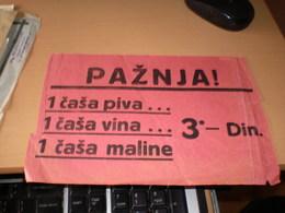 Poster Poster Price Beer Wine And Raspberry Paznja 1 Casa Piva 1 Casa Vna 1 Casa Maline 3 Dinara - Other