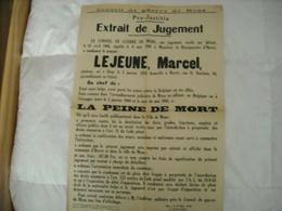 Conseil De Guerre (jugement Peine De Mort) Porté Les Armes Contre Belgique - 1939-45