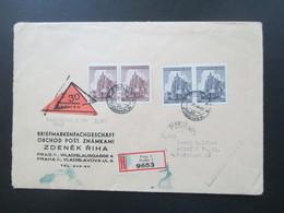 Böhmen Und Mähren 1944 Einschreiben / Nachnahme Briefmarkengeschäft Zdenek Riha Prag - Adorf Mit Ak Stempel - Briefe U. Dokumente
