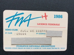 FEDERATION NATIONALE AÉRONAUTIQUE  F.N.A. Licence Fédérale AÉRO-CLUB  Année 1986 - Sports