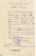 Militaria / Certificat Situation 1916 / Mairie De Mailleroncourt St Pancras 70 / L. COUSSANT 9ème Rég Artillerie Belfort - France