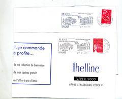 Lettre Flamme Mane Chateau - Marcophilie (Lettres)