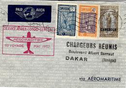 Mai 1937- Ev. De DOUALA Pour Dakar ( Sénégal ) Service Aérien CONGO-SENEGAL  1 Er Voyage - Cameroun (1915-1959)