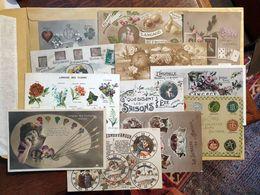 CPA - 12 Cartes Fantaisies - LANGAGE Des ... Fruits,Timbres, Cartes, Porte Bonheur, Papillons, Cires, Oiseaux Fleurs Etc - Fantaisies