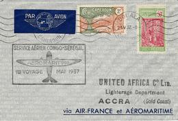 Mai 1937- Env De DOUALA Pour ACCRA ( Gold Coast )  Service Aérien CONGO-SENEGAL  1 Er Voyage - Storia Postale
