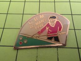 513k Pin's Pins / Beau Et Rare : THEME SPORTS / BILLARD CBM LE MANS 1992 BOULES ET QUEUE - Billiards