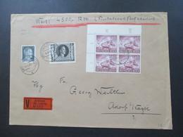 3. Reich 1943 Tag Der Wehrmacht Nr. 841 Als Eckrand 4er Block Oben Links! Wertbrief Groitzsch (Bz. Leipzig) 489 - Deutschland