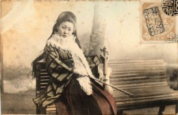 Japon - Geisha Au Violon - Geisha On The Violin - Japon
