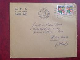 Paris CFT Sur Blason Oran - Marcophilie (Lettres)