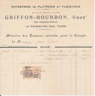 LA RICHE, Indre Et Loire - Platrerie Et Fumisterie Griffon-Bourbon, 1933 - France