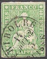 Schweiz Suisse 1858: III.Periode Faden Grün Fil Vert 40 RAPPEN Zu 26 G Mi 17IIBym O FRIBOURG 14 AOUT 62 (Zu CHF 120.00) - Oblitérés