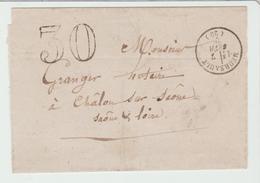 Cte D'Or: MEURSAULT CàD Type 15 + TDT 30 / LSC De 1870 Pour Chalons TB - Postmark Collection (Covers)