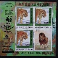 Korea 1996 M/S Wild Animals Nature Conservation Tiger Big Cats Lion Leo WWF Fauna Mammals IUCN Stamps CTO SG N3631 - Big Cats (cats Of Prey)