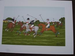 Lithographie Originale De Vincent Haddelsey 1934-2010 Non Signee: Le Polo (Sport, Cheval) - Estampes & Gravures