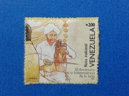1997 VENEZUELA FRANCOBOLLO USATO STAMP USED INDIA MUSICA TRADIZIONALE 200 BS - Venezuela