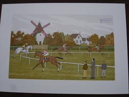 Lithographie Originale De Vincent Haddelsey 1934-2010 Non Signee: Longchamp (Cheval, Moulin, Hippodrome, Course) - Estampes & Gravures