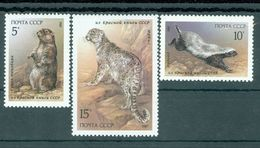 USSR Russia 1987 Wild Animals Fauna Menzbira Marmot Barger Snow Leopard Animal Mammals Big Cats Stamps MNH Mi 5711-13 - Stamps