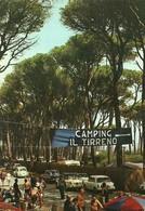 """4448 """"VADA-LA PINETA""""ANIMATA-CAMPING IL TIRRENO-AUTO ANNI '60-CART. POST.ORIG. SPED 1969 - Livorno"""