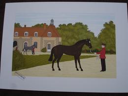 Lithographie Originale De Vincent Haddelsey 1934-2010 Non Signee: Les Haras Nationaux ( Cheval, Dresseur) - Estampes & Gravures