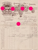 LIEGE Rue Méan 1909  GUILLAUME LECLERCQ Vins Liqueurs Genièvre Denrées Coloniales / Superbe Facture Gordinne Imprimerie - Food