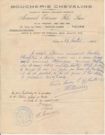 LA RICHE, Indre Et Loire - Boucherie Chevaline Armand Etienne Fils - Certificat De Travail Pour Un Palefrenier, 1932 - France