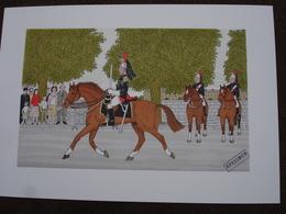 Lithographie Originale De Vincent Haddelsey 1934-2010 Non Signee: La Garde Republicaine (Cheval, Militaire) - Estampes & Gravures