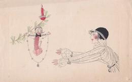 Vers 1900 Comme Peint à La Main Femme élégante ,jouet à Ressort ,noël ? - Illustrateurs & Photographes