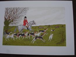 Lithographie Originale De Vincent Haddelsey 1934-2010 Non Signee: La Chasse à Courre En Irlande (Cheval, Chien Beagle) - Estampes & Gravures