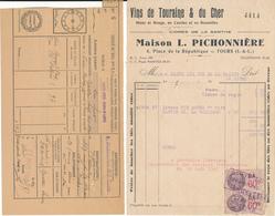 TOURS, Indre Et Loire - Maison L. Pichonnière, Vins De Touraine & Du Cher - Facture + Congé - France