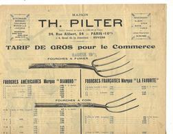 Document 1922 / Instruments Agricole 75 PARIS Rue Alibert T. PILTER / Fourches, Houes, Bascules, Tondeuses,concasseur - France
