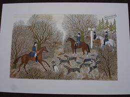 Lithographie Originale De Vincent Haddelsey 1934-2010 Non Signee: La Chasse à Courre En France (Cheval, Chien Beagle) - Estampes & Gravures