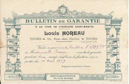 TOURS, Indre Et Loire - Horlogerie Louis Moreau - Bulletin De Garantie Pour Une Montre Bracelet Or, 1929 - France