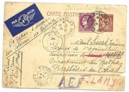 Entier Carte Postale Iris 80 C Oblitérée 1941 Puy En Velay Pour Via Dakar Dirigée Sur Cotonou Via Nigeria. - Entiers Postaux