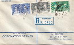 Postal History Cover: Gibraltar Coronation Set On Registered Letter - Royalties, Royals