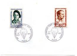 PARIS 1973 = CACHET GRAND FORMAT TEMPORAIRE Illustré = CONGRES FEDE. INTERN. Des RESISTANTS + 2 Timbres Concordants - Marcophilie (Lettres)