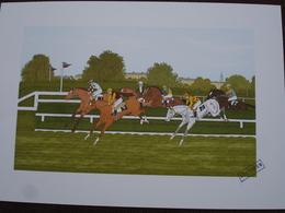 Lithographie Originale De Vincent Haddelsey 1934-2010 Non Signee: Auteuil (Cheval, Hippodrome, Saut D'Obstacles, Course) - Estampes & Gravures