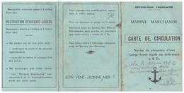 CARTE DE CIRCULATION -MARINE MARCHANDE  R.F.-  NAVIRE DE PLAISANCE D'UNE JAUGE BRUTE EGALE OU INFERIEURE A 2 Tx - Sin Clasificación