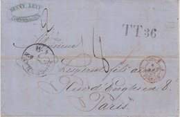 "DANEMARK : MARQUE POSTALE . DE "" COPENHAGUE TT36 "" . DIVERSES TAXES . 1862 . - Danimarca"