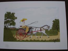 Lithographie Originale De Vincent Haddelsey 1934-2010 Non Signee: L'Attelage (Cheval, Caleche) - Estampes & Gravures