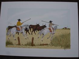 Lithographie Originale De Vincent Haddelsey 1934-2010 Non Signee: Les Gardians En Camargue ( Cheval, Taureau) - Estampes & Gravures