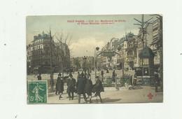 75 - PARIS - Boulevard De Clichy Et Place Blanche Animé Bouche De Métro Bon état - District 18