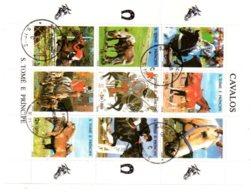 Feuillet -S.Tomé E Principe - Cavalos -cheval-voir état - Chevaux