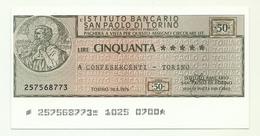 1976 - Italia - Istituto Bancario San Paolo Di Torino - Confesercenti - Torino - [10] Checks And Mini-checks